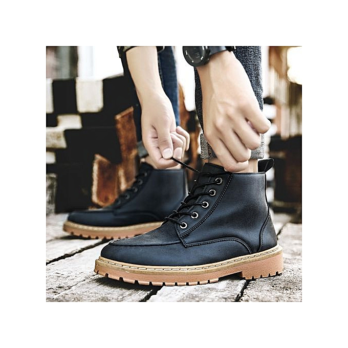 3f169a00147 Men Genuine Leather High-top Martin Boots Waterproof Ankle Boots-black