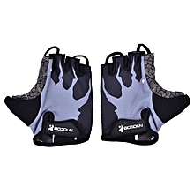 1 Pair Bike Half Finger Silicone Pad Gloves Protective Gear Mountain Cycling Accessory (L)