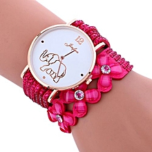 Lady  Leather Wrist Watch Fulaida Fashion Elephant Pattern Chimes Diamond Leather Bracelet Lady Womans Wrist Watch-Hot Pink