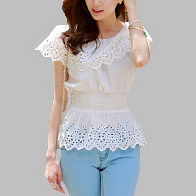ed63995f2bf0e Fashion Fashion New Women Summer Blouse Off Shoulder Short Sleeve Hollow  Out Casual White Shirts Slim Fit Top Plus Size Blusas