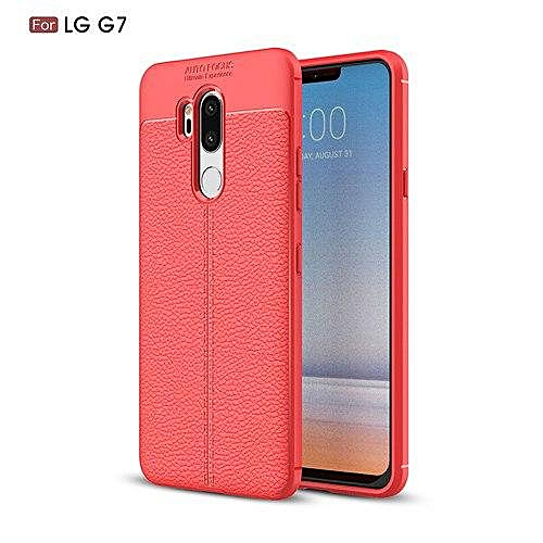 a54f1e4ea02 Generic For LG G7 Case 6.1 Inch Luxury Ultra-Thin Shockproof Soft TPU  Leather Phone Cases For LG G7 Cover Coque Fundas (Red)