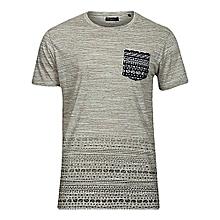 100% Cotton Marl-Latte Men's Printed Pocket T-shirt