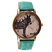 Tectores 2018 Fashion Multifunction Retro Clock Zebra Cowboy Leather Band Analog Quartz Watch GN
