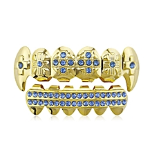 Gold Color Hip Hop Teeth Top And Bottom Grill Teeth Fashion Metal Tooth blue