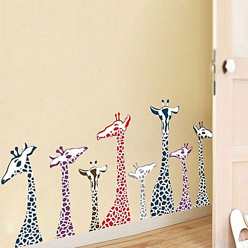 generic braveayong diy giraffe family removable wall decal family