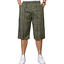 Mens 100%Cotton Breathable Loose Calf-Length Pants Plaid Wrinkle-Resistant Moisture Wicking Shorts