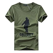 Men Black OPS Logo Print T-shirt -Army Green
