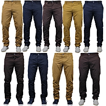 4 Pack Khaki Trousers- Black,Brown ,Beige,Navy Blue