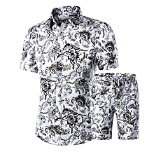 Mens Fashion Printing Summer Casual Turn Down Collar Short Sleeve Fit Shirts Suit