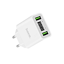 HOCO C25A Cool Double Port Power Adapter Charger, EU Plug, For iPhone, iPad, Galaxy, HTC Nexus Moto Blackberry, Power Bank and More (White)