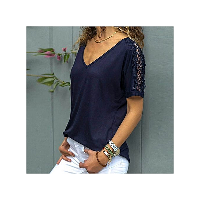 28bddf7eb4739c Hiaojbk Store Fashion Womens Short Sleeve V Neck Lace Patchwork Casual  Shirt Blouse-Navy ...