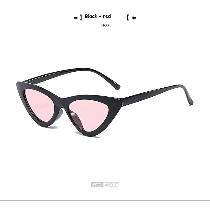 25a4f3b457bf cute sexy retro cat eye sunglasses women small Black Transparent pink triangle  vintage sun glasses red