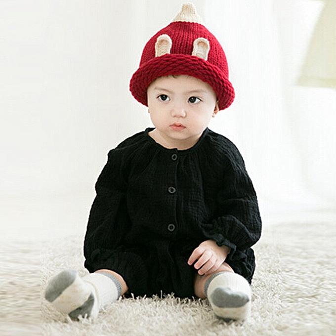 a24e75dc996 Baby Toddler Kids Boy Girl Knitted Crochet Ear Beanie Winter Warm Hat Cap  RD- Red