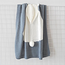 Hot style three-dimensional bunny rabbit ears blanket blanket children knitted baby blankets baby blankets beach mats # Grey