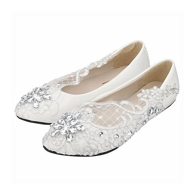195894a8c7b Lace bridal crystal wedding shoes rhinestone low heel flat bridesmaid prom  shoes WHITE