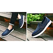 Men's Denim Canvas Sneakers Anti-Slip Casual Shoes Plus Size (Blue)