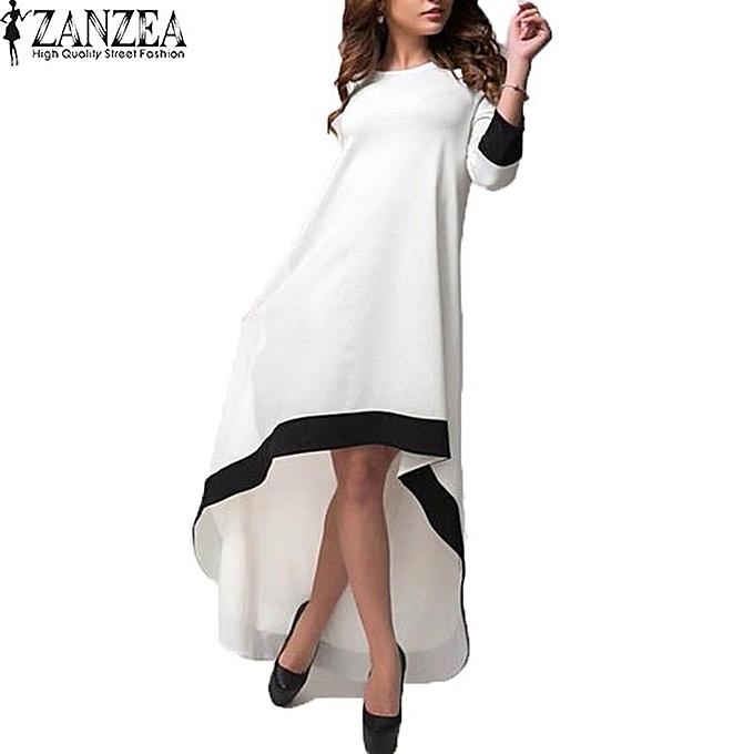 f68965074ce ZANZEA ZANZEA Womens O Neck 3 4 Sleeve Stitching Asymmetrical Hem Elegant  Summer Party Maxi Long Dress Beach Vestido Plus Size White