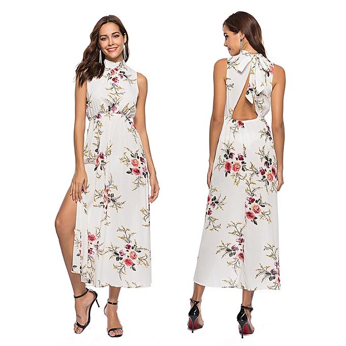 885fb662ce2 Fashion Hiaojbk Store Women Floral Printed Sleeveless Bandage Summer Long  Dress Beach Dress-White
