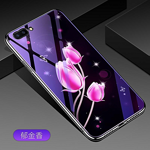 newest f12d8 85df3 For OPPO A5 Lovely Cartoon Wolf Flower Blue Light Back Cover For OPPO A5  Anti-Explosion Tempered Glass Case Fundas 6.2inch 262624 (tulip)