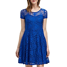 Elegant Hollow Lace Dress - Blue