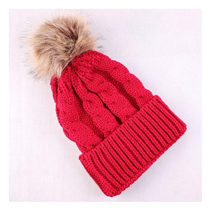 a3acff4dd62 ... singedanWomen Winter Crochet Thicken Hat Wool Knit Beanie Warm Cap RD - red