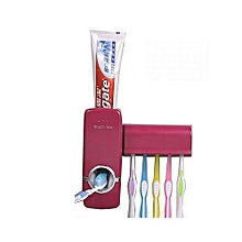 Automatic Toothpaste Dispenser with Toothbrush Holder - Burgundy