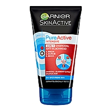 Pure Active 3 in1 Charcoal Blackhead Mask Wash Scrub 150ml