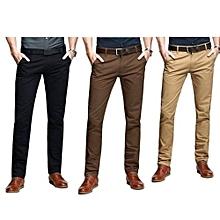 3 Pack Soft Khaki Pants for Men - Black brown Beige - Slim Fit with free pair of socks.