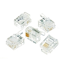 Round Cable Modular Plug RJ11 Connector-100pcs
