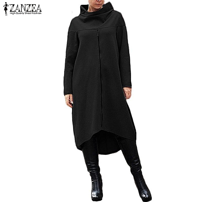 236cba7a94a ZANZEA ZANZEA Autumn Women Oversized Long Sweatshirt Turtleneck Long Sleeve  Zipper Brief Loose Dress Pullover Solid Irregualr Hem Vestido Plus Size  S-5XL ...