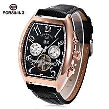 Forsining F201672801 Male Auto Mechanical Watch Tourbillon Date Day Month Display Wristwatch-BLACK AND GOLDEN