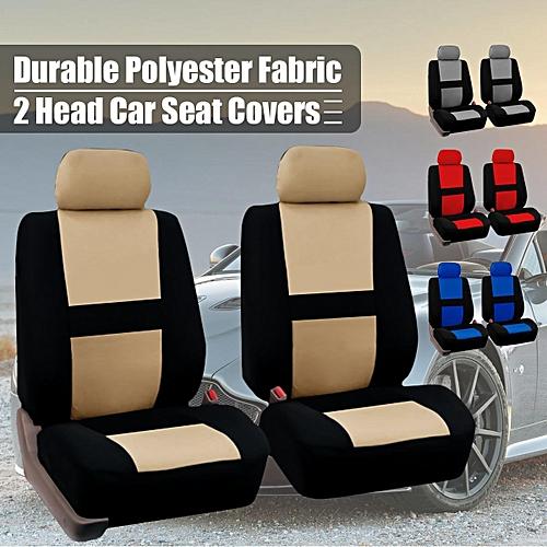 Pair Universal Car Front Seat Covers Head Protectors SUV Van Bus Truck Washable Beige