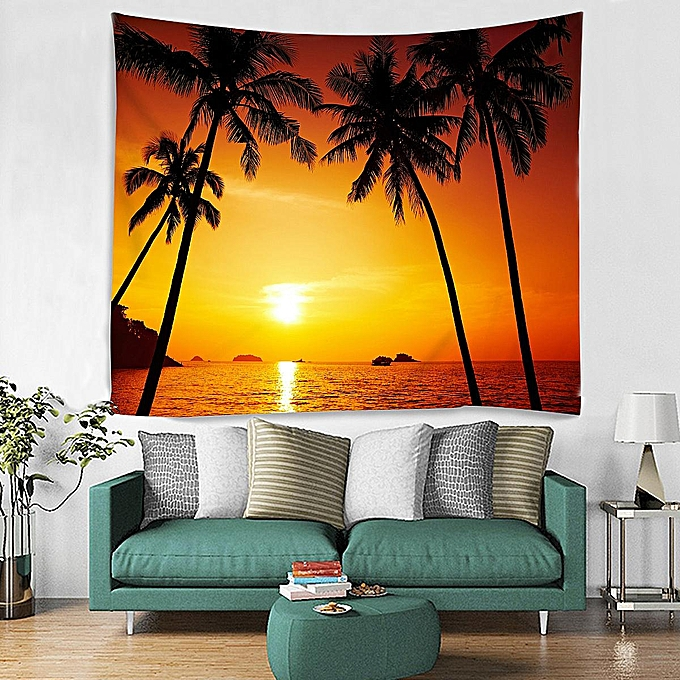 Generic 150 210cm Sunset Beach Ocean Style Wall Hanging Tapestry