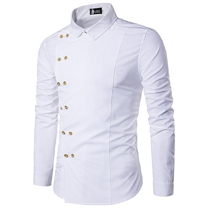 conseguir baratas descuento mejor valorado apariencia estética Men Shirt Double Breasted Dress Shirt Long Sleeve Slim Fit Camisa Masculina  Casual Male Hawaiian Shirts-white