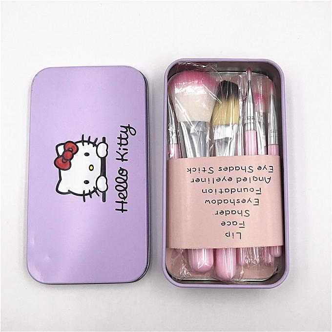 3cc8d6b4d ... 7Pcs Hello Kitty Makeup Brush Set with Iron Mini Box Make up  Professional Facial Brushes Black ...