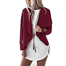 ZANZEA Women Elegant Solid Lapel Long Sleeve Irregular Open Stitch Waterfall Coat Office Ladies Slim Outwear Cardigan Jackets Wine Red