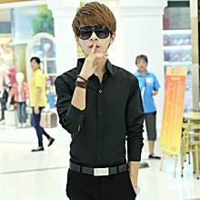 1PC Fashion Luxury Long Sleeve Mens Casual Slim Fit Stylish  Shirts BK/M-  Back