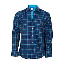 Navy Blue Checked Shirt