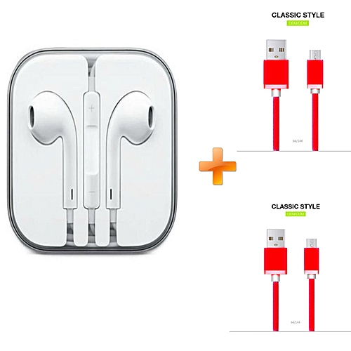 Earphones for iPhone - White,Get Two Free Android Cable