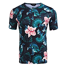 Men Casual Leaves Floral Printing Short Sleeve Henley Shirt