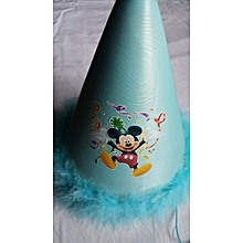 Blue Feathered Party Hat - Jumping Mickey Mouse