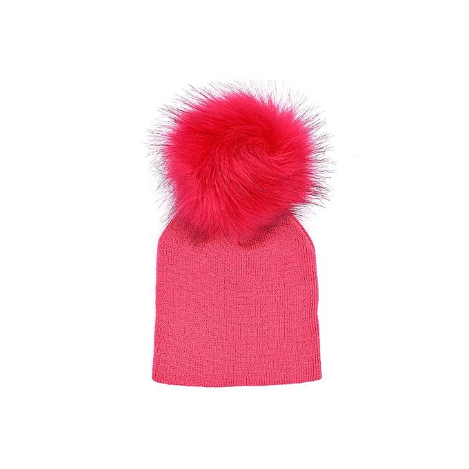 a546a5fc0 Hiaojbk Store Toddler Infant Baby Winter Warm Solid Hat Crochet Knit  Hairball Beanie Cap-Hot Pink