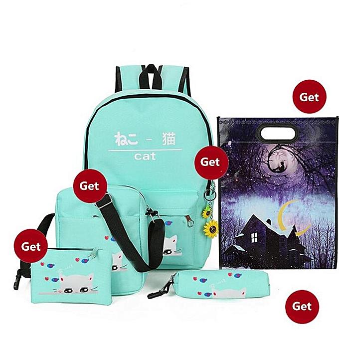 6pcs Set Canvas Cat Backpack Shoulder Bag Handbag Pen Sunflower Pendant