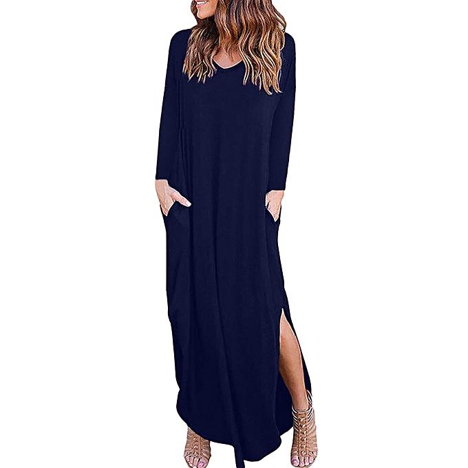 5f1b296e6621 Hiamok Women Long Sleeve Loose Dress Ladies Evening Party Beach Split Long  Maxi Dress