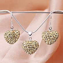 MBox Crystal Shamballa Bling Jewelry Heart-shaped Necklace Earrings Sets - Beige