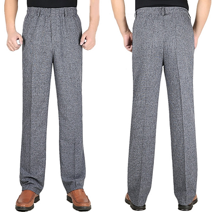 cd8a2fba563 Mens straight-leg Loose Full-Length Casual Pants Elastic Waist  Wrinkle-resistant Work