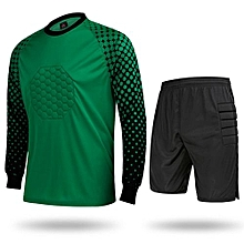 Hot Sale Men's Football Sports Goalkeeper Jersey Long Sleeves Shirts With Shorts-Green(SY11)