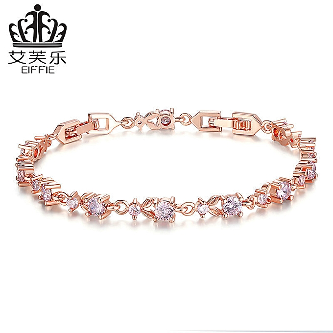 7c691ff4af2b8 Design female fine current 18 K gold Zircon bracelet JIB013