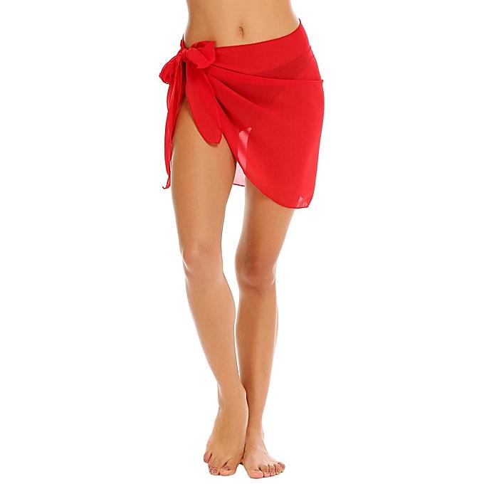 c0b9a84c06 Sunshine Women Short Sarong Wrap Chiffon Beach Cover up Swimsuit ...