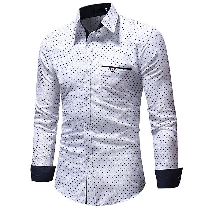 a870c9d4023e huskspo Men's Autumn Casual Formal Polka Dot Slim Fit Long Sleeve Dress  Shirt Top Blouse